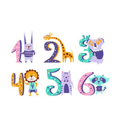 cute kids anniversary numbers with animals rabbit vector image