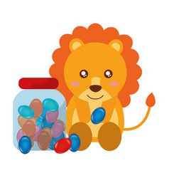 Cute lion and jar sweet candy gums vector