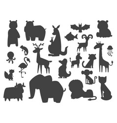 Cute zoo cartoon silhouette animals isolated funny vector