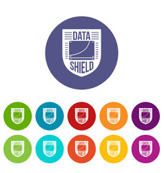 data shield icons set color vector image