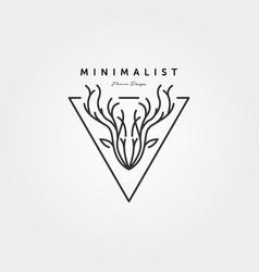 dear head line art logo minimalist design vector image