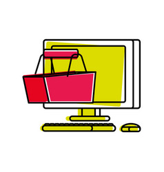 desktop computer with basket shopping vector image