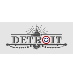Detroit city name with flag colors styled letter O vector image
