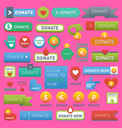 donate buttons help human hand money set in vector image