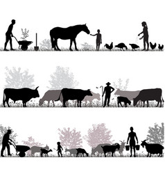 Family of farmers vector