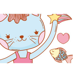 Female cat animal with stars and fish vector