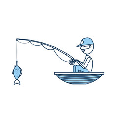 fisherman fishing in the boat avatar character vector image
