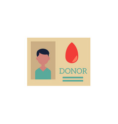 flat donor identification card icon vector image