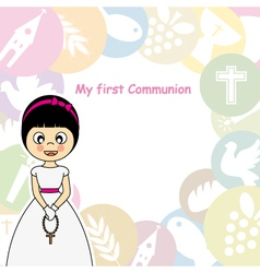 Girl First Communion Invitation vector image