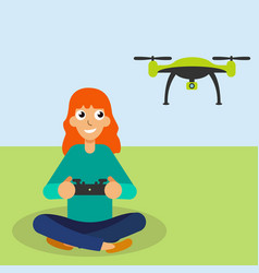 girl piloted flying drone vector image