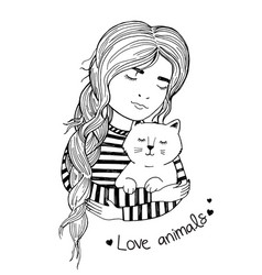 girl with long hair hugs cat vector image