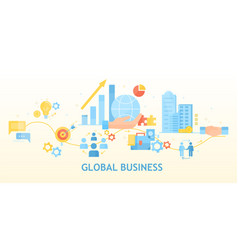 Global or worldwide business concept vector