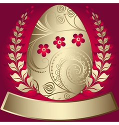 gold elegance easter red frame vector image