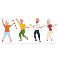Group of elderly people together active and happy vector