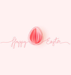 happy easter card hand drawn line with paper egg vector image