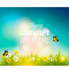 Happy summer holidays background with flowers vector image