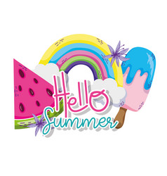 Hello summer cartoons vector