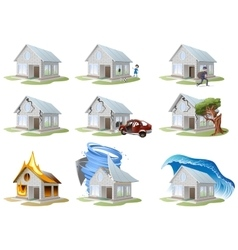 Home insurance property insurance big set house vector