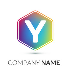 letter y logo symbol in the colorful hexagonal on vector image