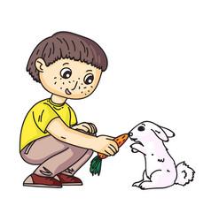Little boy feeding rabbit with carrot on white vector