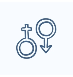 Male and female symbol sketch icon vector image