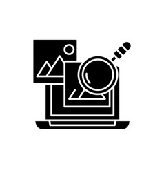 media analysis black icon sign on isolated vector image