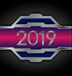 metallic tech 2019 new year design on perforated vector image