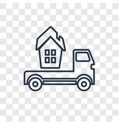 Moving truck concept linear icon isolated on vector