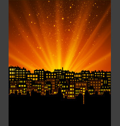 night city with sunset vector image