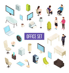 office isometric set vector image