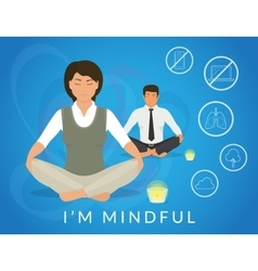 Office people sitting in calm lotus pose vector