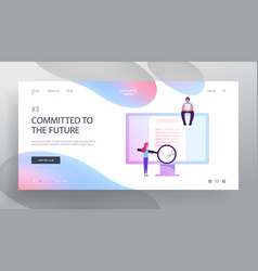 Online contract signing website landing page vector