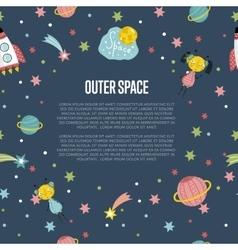 Outer space cartoon web banner vector
