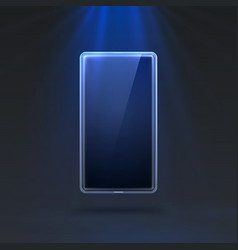 phone in bright blue color rays light in the vector image