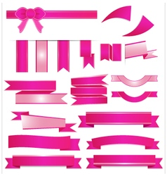 Pink ribbons setisolated on white background vector
