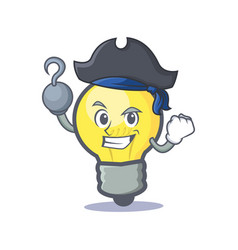 Pirate light bulb character cartoon vector