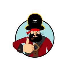 Pirate thumbs up filibuster winks emoji buccaneer vector