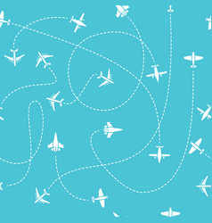 Plane travel seamless pattern world travelling vector