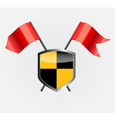Protective Shield with Red Flags vector image