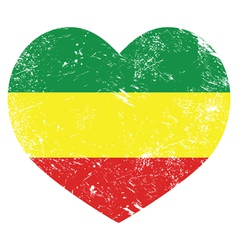 Rasta Rastafarian retro heart shaped flag vector image vector image