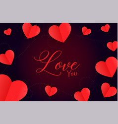 red hearts background with love you message vector image