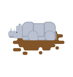 Rhinoceros in puddle africa wild beast animal vector