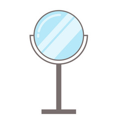 round shiny mirror on metal stand for make-up vector image
