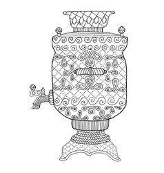 samovar teapot zen tangle and doodle vector image