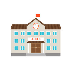 School flat building icon vector
