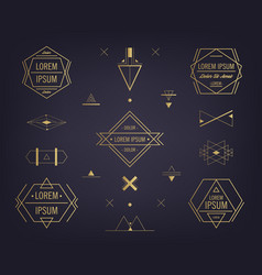 set abstract geometric logos mystical vector image