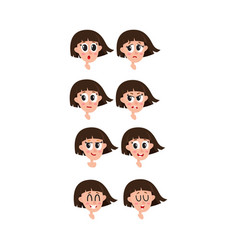 Set collection of woman girl face expressions vector