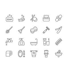 Set hygiene line icons bathtub bath sponge vector