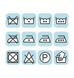 Set instruction laundry icons care icons wash vector