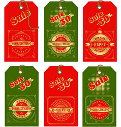 set of christmas tags vector image